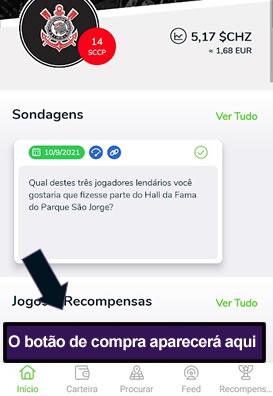 Página no aplicativo para compra do Fan Token do Corinthians