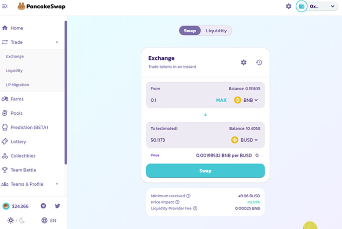 Interface da exchange descentralizada PancakeSwap