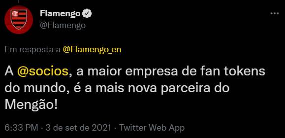 Flamengo anuncia parceria com Socios.com para criação do Fan Token do Flamengo
