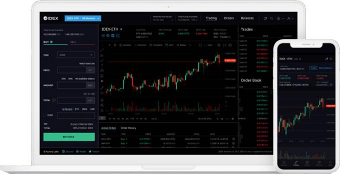 Interface da exchange IDEX